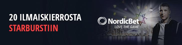 NordicBetiltä 20 ilmaiskierrosta liittymislahjana heinäkuun loppuun asti