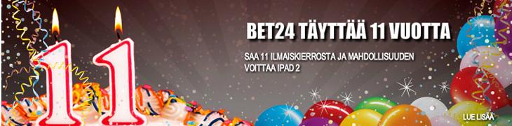 Bet24 täyttää 11 vuotta - ilmaiskierroksia ja iPad-arvonta