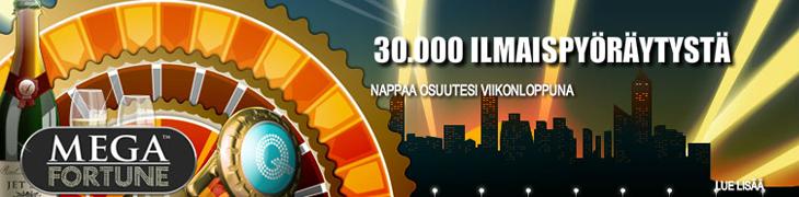 Bet24:llä jaossa 30.000 ilmaiskierrosta nopeimmille