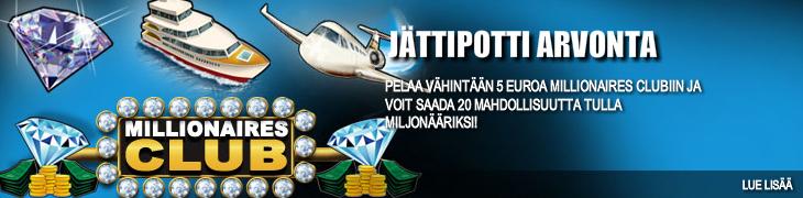 Pelaa Millionaires Clubia Bet24:llä ja osallistut arvontaan