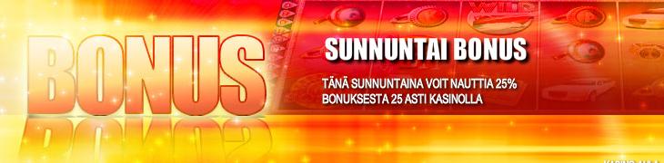 Bet24:ltä 25% sunnuntaibonus casinolle