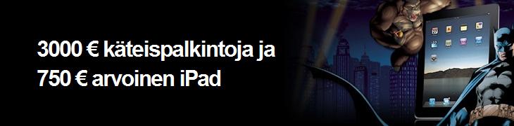 Betsafella kaksi casinoturnausta - 3000 euron käteispalkinnot ja iPad!
