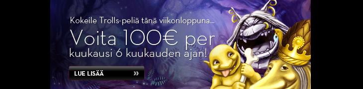 Voita Betssonilta 100€ kuukausittain puolen vuoden ajan!