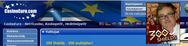 Suomalaispelaajalle 57.000 euroa CasinoEuron 300 Shields -pelissä