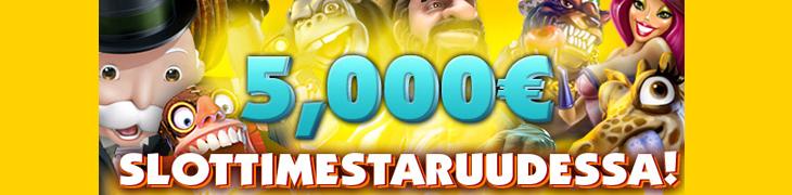 5000 euroa jaossa Casinohuoneen slottimestareille