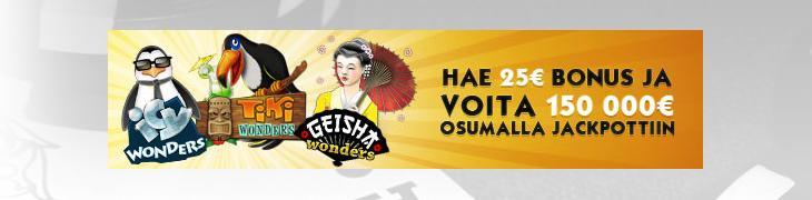 Casinohuoneelta 25€ bonus Wonders-jackpotpeleihin