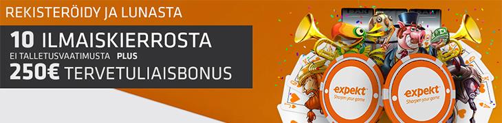 Expektiltä 10 ilmaiskierrosta liittymislahjana – tallettajille 250€ bonusta