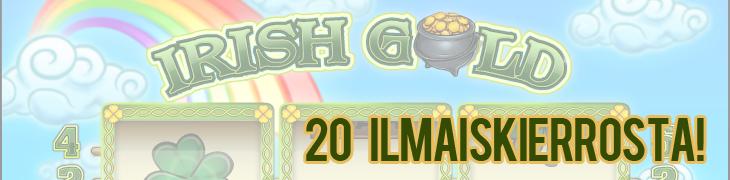 Kolikkopelit.comissa uusi Irish Gold –peli – lunasta 20 ilmaiskierrosta