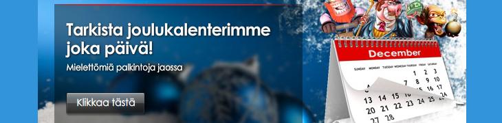 Casinoiden joulukalentereissa jaossa mm. ilmaiskierroksia ja bonuksia