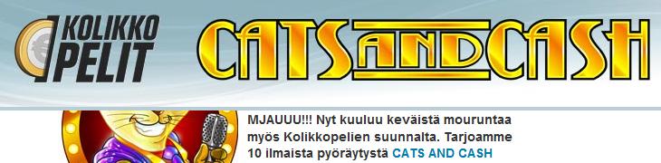 Kolikkopelit.comilta 10 ilmaiskierrosta Cats and Cashiin