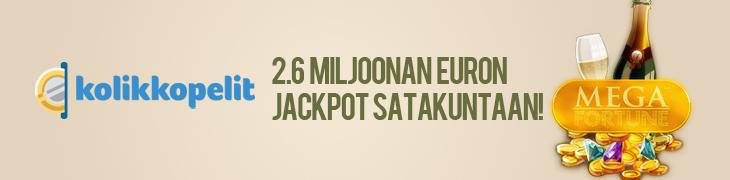 Mega Fortunesta 2.6 miljoonaa euroa Satakuntaan!