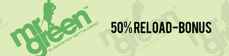 Mr Greeniltä 50% reload-bonus galaksijuhlien ajan - tutustu uutuuspeleihin
