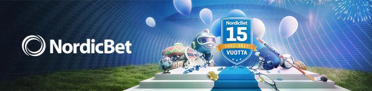NordicBet täyttää 15 vuotta keskiviikkona – runsaasti erikoistarjouksia!