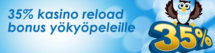 NordicBetiltä 35% reload-bonus yökyöpeleille
