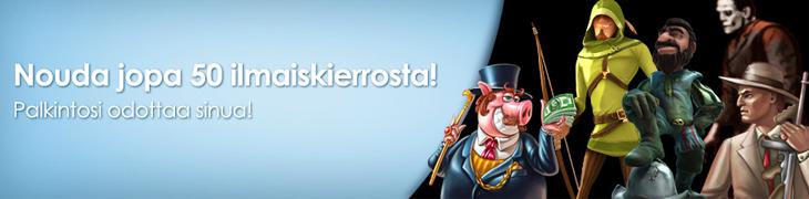 Tienaa NordicBetillä 50 ilmaiskierrosta!