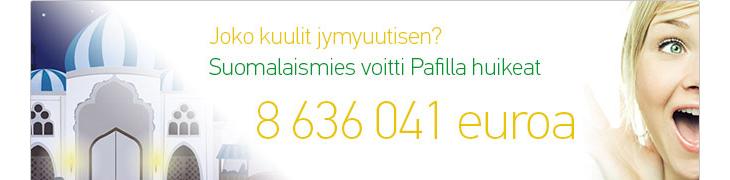 Pafin ennätyspotti 8.6 miljoonaa euroa Suomeen
