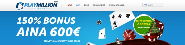 Casinomaailman tulokkaalta PlayMillionilta 600 euroa bonusta