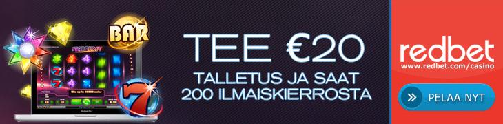 Redbetiltä 200 ilmaiskierrosta 20€ talletuksella