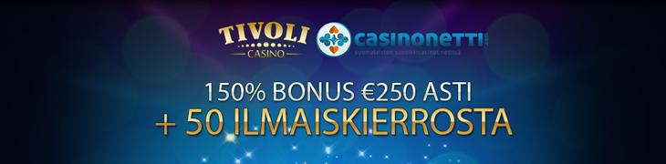 TivoliCasinon erikoistarjous: 150% bonus ja 50 ilmaiskierrosta