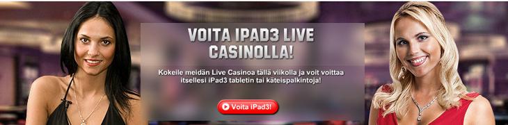Unibet arpoo Live Casinolla päivittäin iPadin ja käteispalkintoja