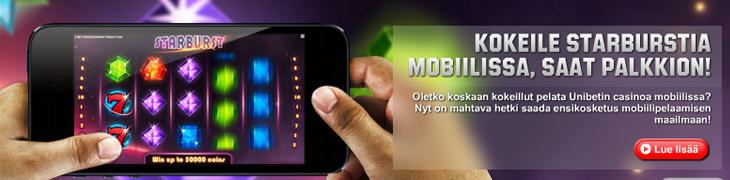 Kokeile Unibetin mobiilicasinoa, saat 5€ palkkion